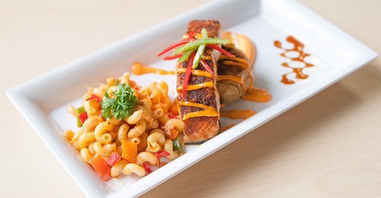 Salmon with mac 'n cheese, one of Chef Ray Nottie's kosher soul food dishes.