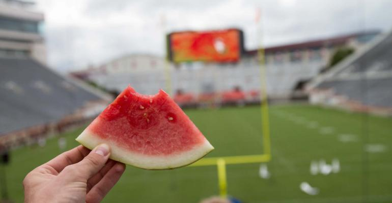 Watermelon from the Virginia Tech campus farm added a very local touch