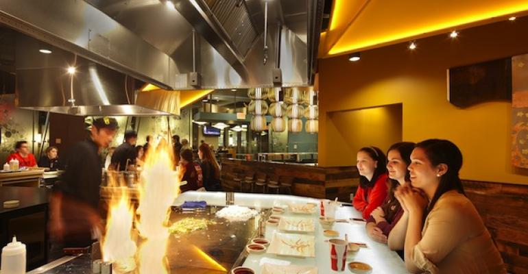 Origamis teppanyaki grills provide plenty of sizzle for an evening dining experience