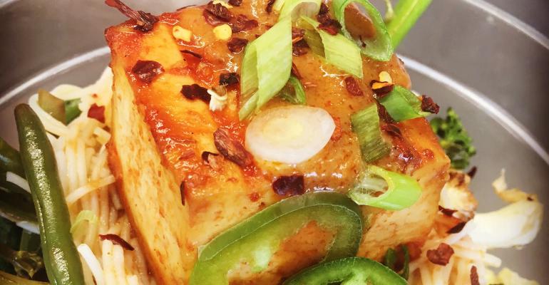Tofu and local veggie macro bowl
