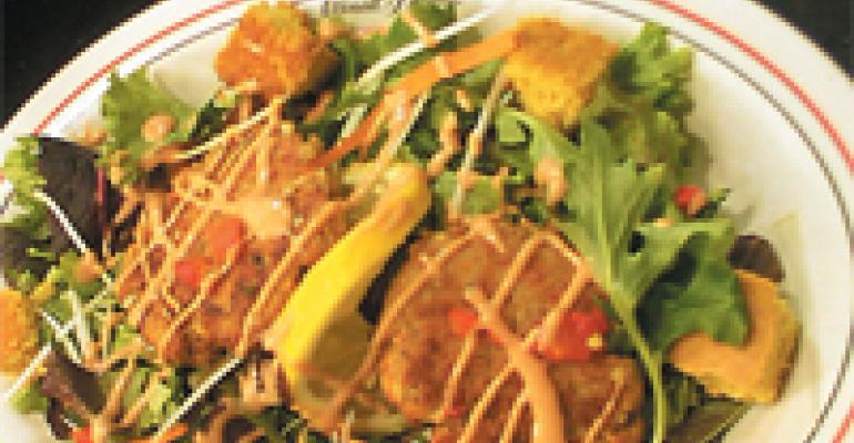 Crab Cake Salad with Beurre Blanc Sauce & Cornbread Croutons