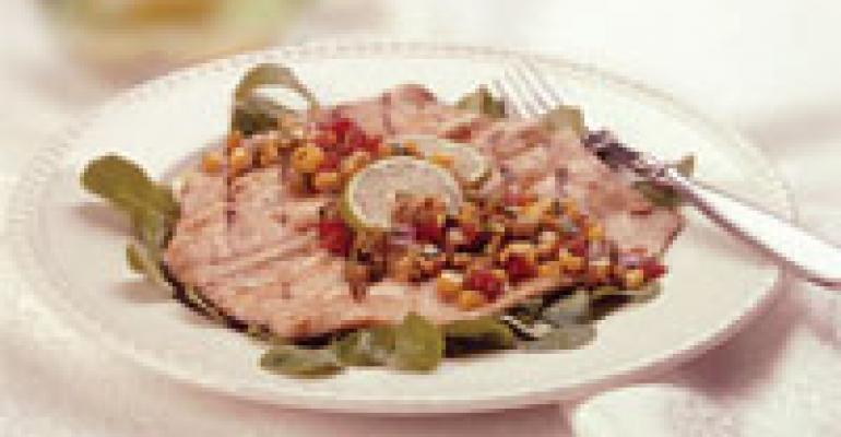 Grilled Rainbow Trout Adobo with Roasted Corn Salsa