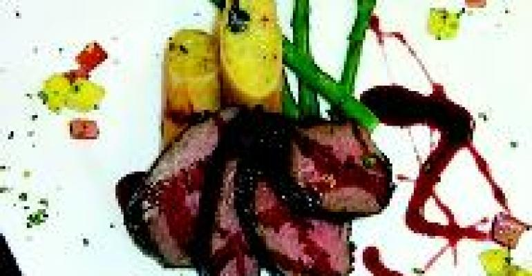 Grilled Beef Tenders with Pomegranate Barbecue Sauce and Mango Relish