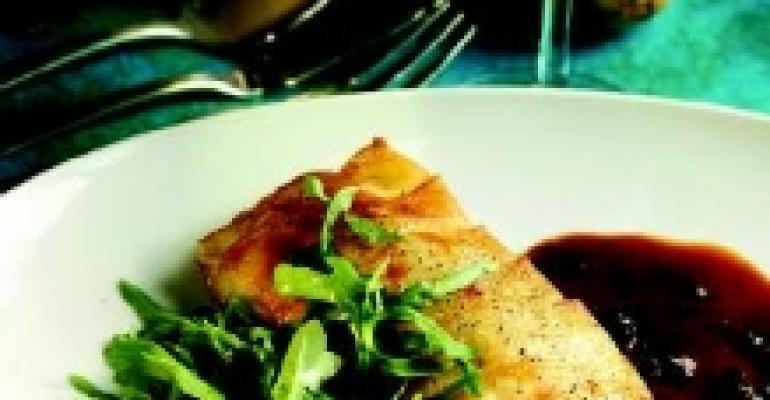 Potato-Crusted Black Bass with Black Truffle Sauce and Wild Arugula
