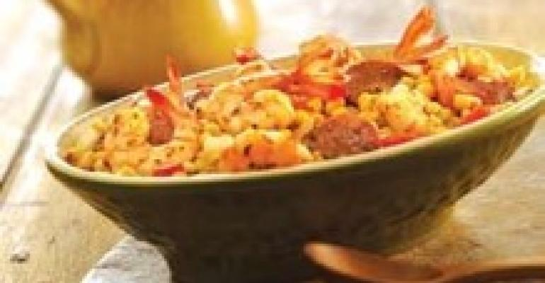 Wild Shrimp with Smoked Sausage and Roasted Peppers