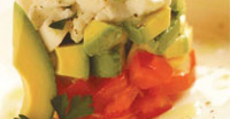 Avocado, Tomato and Mozzarella Tower Salad