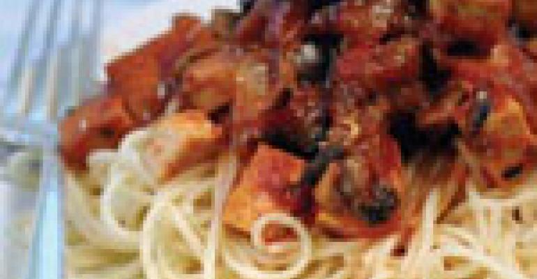 Spicy Tofu and Mushroom Spaghetti Sauce