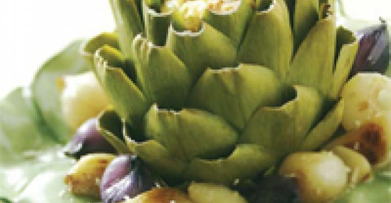 Braised Stuffed Artichokes with Sweet Garlic