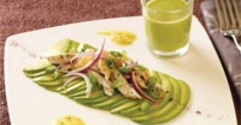 Carpaccio of Avocado and Chicken Salad Thai Style