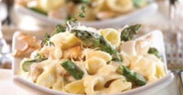 Orecchiette with Chicken, Asparagus, Shiitakes and Fontina Fondue