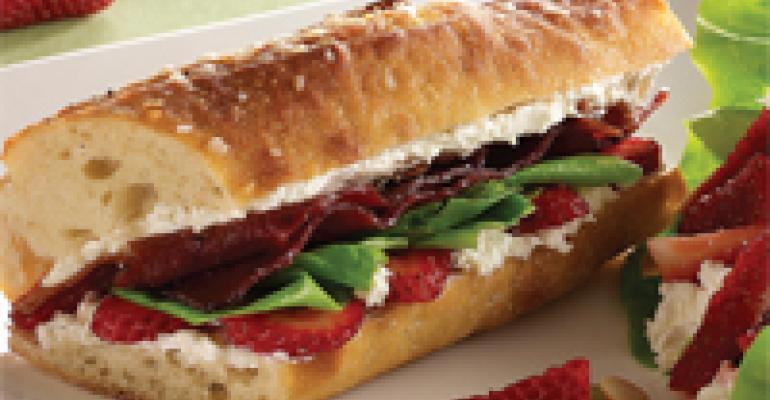 Cali Paradise Club Sandwich with California Strawberries and Strawberry-Feta Salad