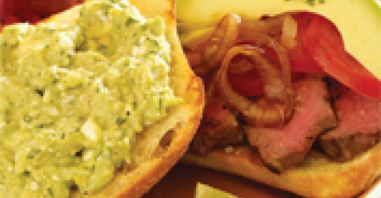 Grilled Filet Mignon Sandwich with Avocado Gorgonzola