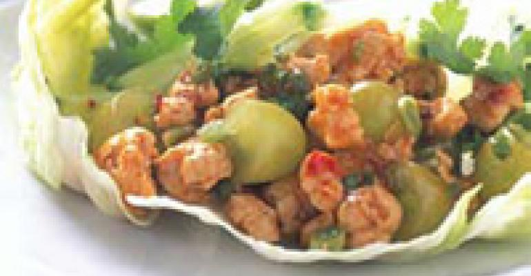 Spicy Grape and Chicken Lettuce Cups