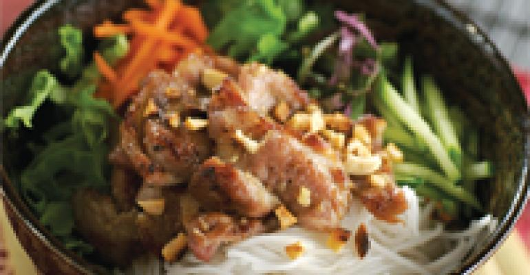 Lemongrass Pork on Cool Rice Vermicelli with Herbs