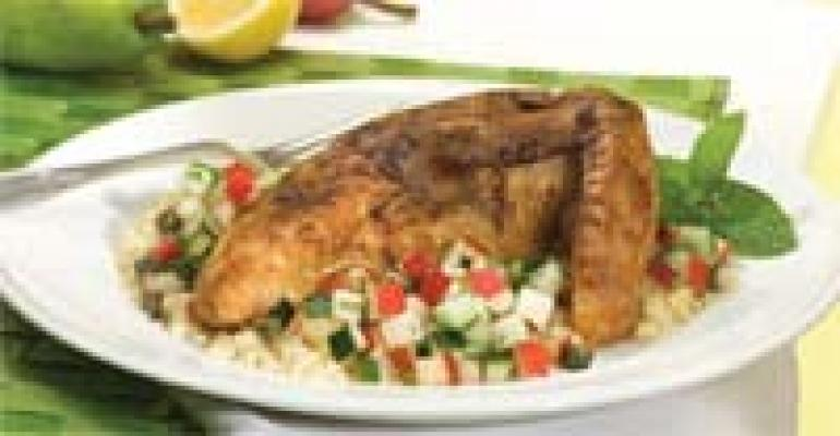 Cardamom Chicken with Lemon Pear Salsa (specially formulated for steam table)