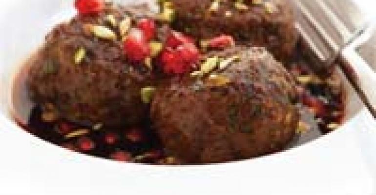 Meatballs with Honey-Harissa-Pomegranate Glaze