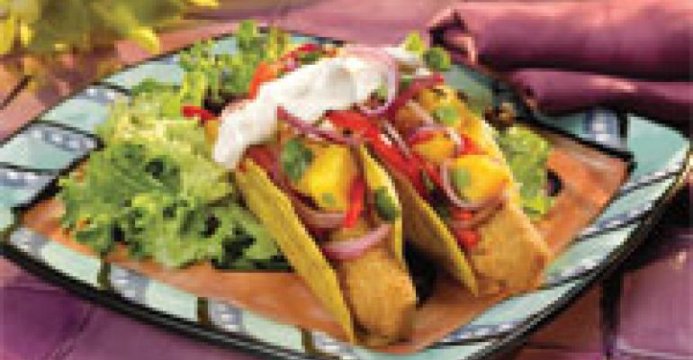 Baja-Style Fish Tacos with Onion Mango Salsa