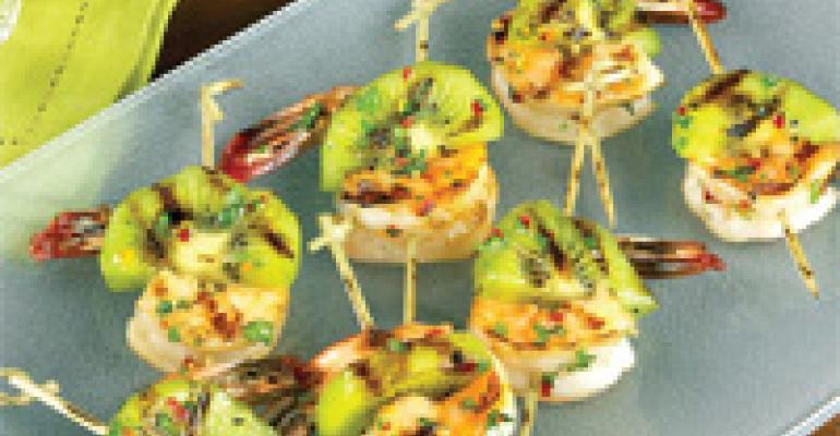 Grilled Kiwi and Prawn Skewers