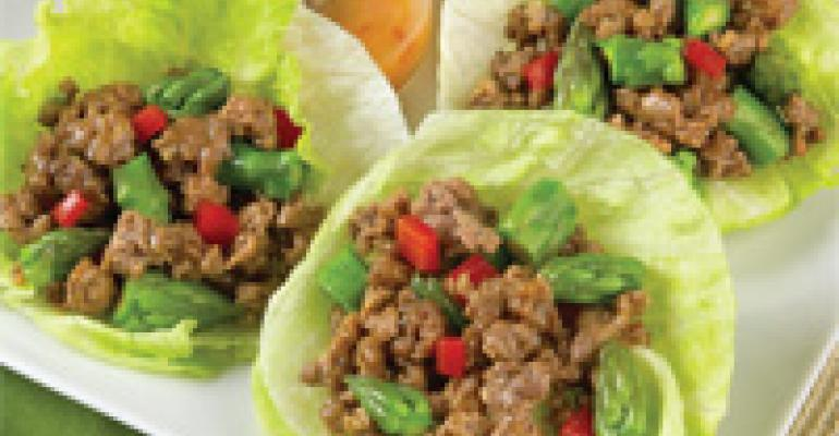 Tangy Lamb & Asparagus Lettuce Cups
