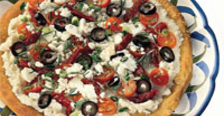 Mediterranean Mashed-Potato & Fresh Herb Pizza