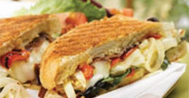 Spicy Onion Panini with Basil and Roasted Red Pepper