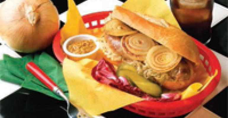 Grilled Onion Rings and Sausage Sandwich