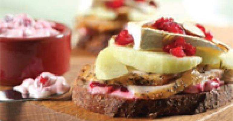 Open Faced Turkey and Brie with Cranberry-Vodka Mayonnaise and Warm Apples