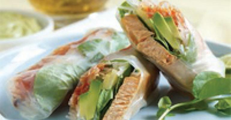 Spicy Ponzu-Glazed Avocado Salmon Spring Roll