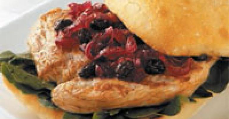 Turkey Cutlet on Ciabatta with Raisin and Red Onion Marmalade