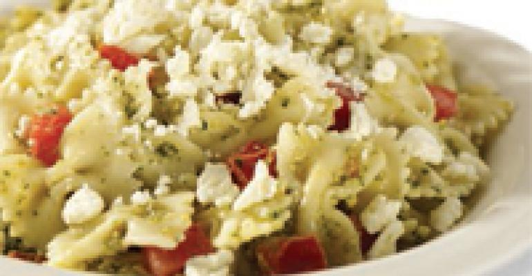 Bowtie Pasta with Pesto, Tomatoes and Feta