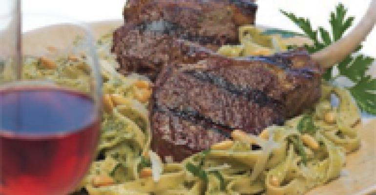 Lamb Rib Chops with Pesto Fettuccine