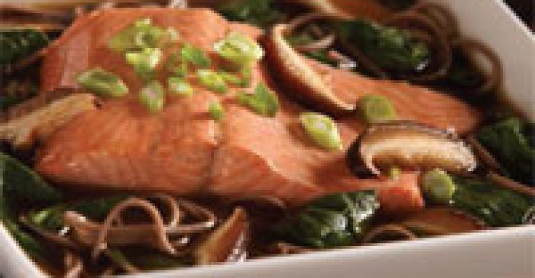Salmon and Soba Noodles in Mushroom Broth