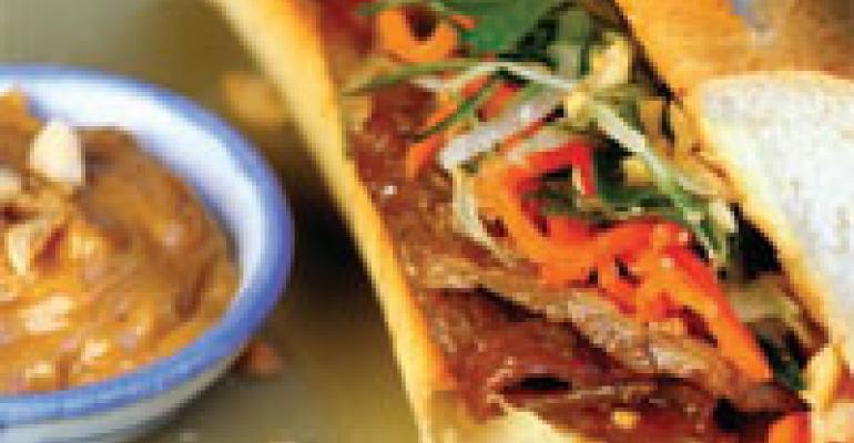 Vietnamese Pork Bahn Mi with Spicy Peanut Aioli