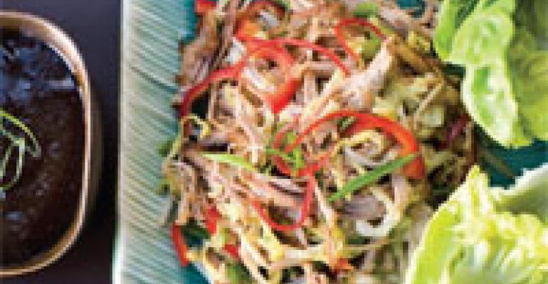 Hand-Pulled Mongolian Pork with Lettuce Cups
