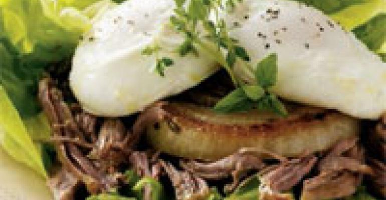 Shredded Pork and Grilled Onion Salad with Poached Egg