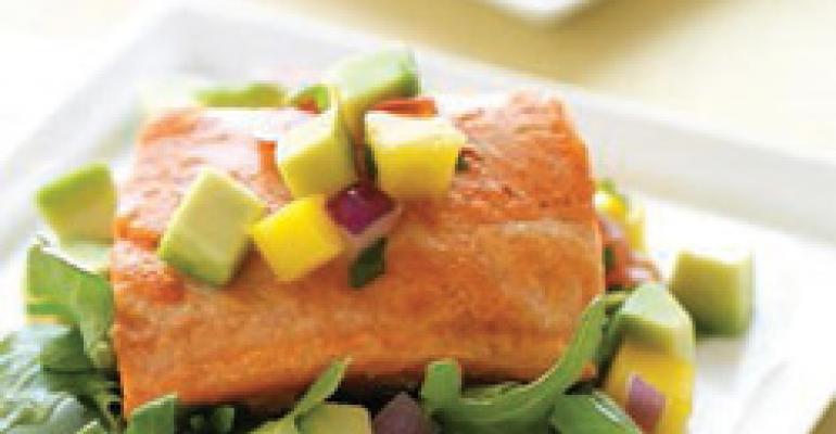 Sauteed Wild Salmon with Avocado, Tomato, and Mango Salad