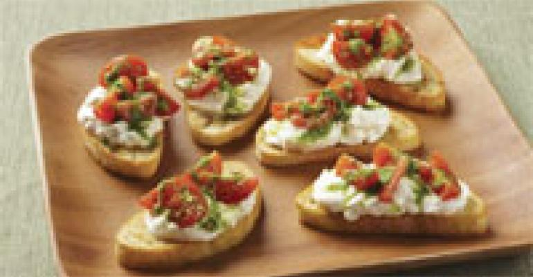 Crostini with Burrata Cheese, Cherry Tomatoes, and Pesto