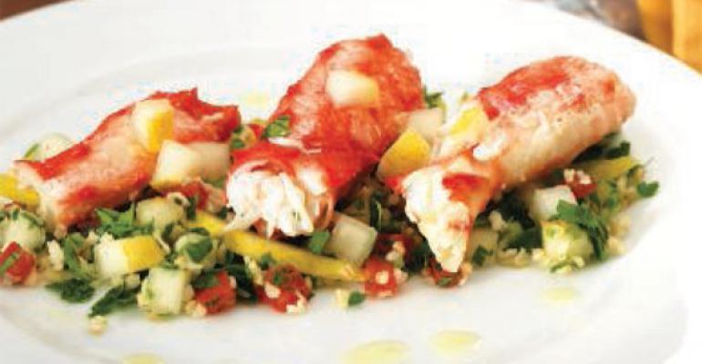 Alaskan King Crab with Pear Tabbouleh Salad