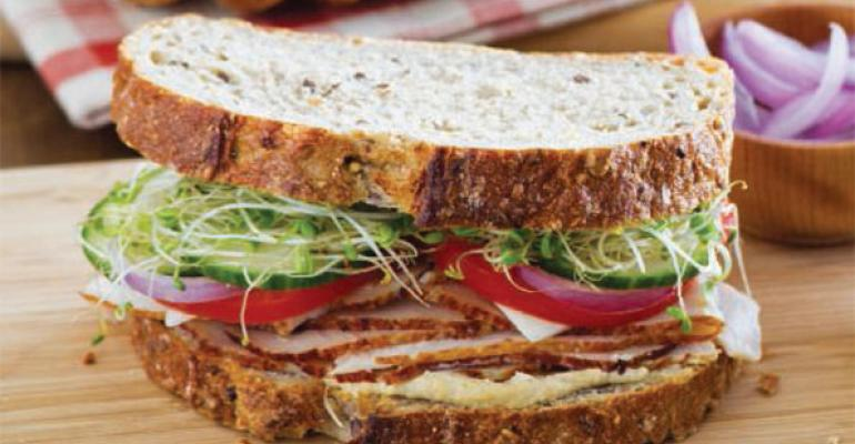 Roasted Turkey & Hummus Mediterranean Sandwich