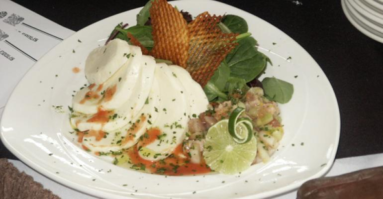 Hand Stretched Mozzarella Salad with Smoked Tuna Ceviche