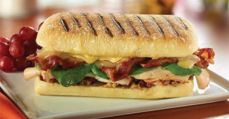 Roasted Turkey Bacon  Sun Dried Tomato Tapenade Panini