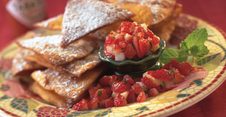 Fruit Nachos with Strawberry Mint Pico de Gallo