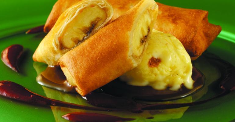 Banana Spring Roll with Chai and Golden Raisin Ice Cream