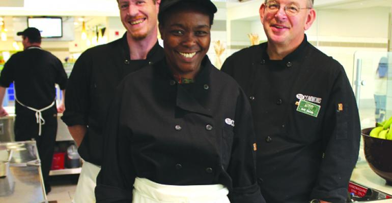 Celebrity chef Damaris Hall center spiced up Dartmouth College dining recently