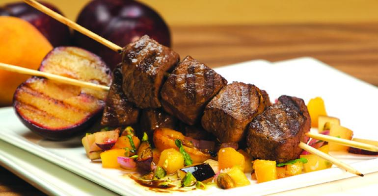 Moroccan Spiced Lamb Kebobs With Fruit Chutney