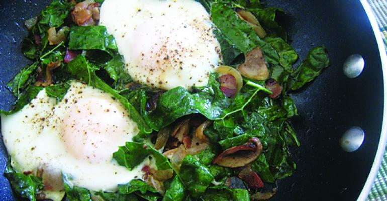Fried Eggs, Mushroom and Kale Skillet