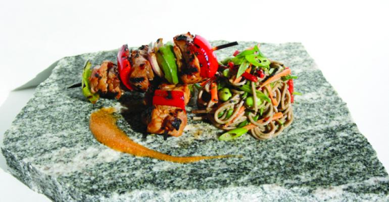 Spicy Sesame Skewers with Soba Noodle Salad