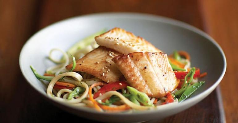 Seared Sole with Spicy Sesame Noodles