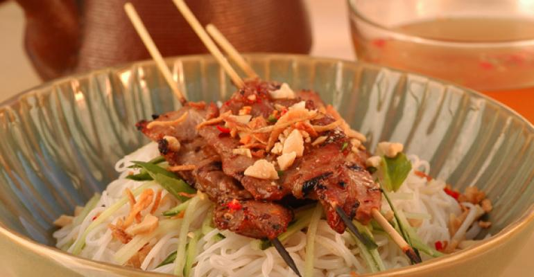 Vietnamese Rice Noodles with Grilled Pork and Peanuts
