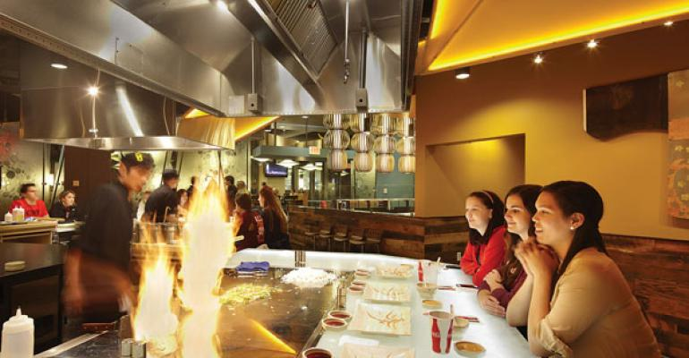 Origamis four teppanyaki flatsurface grills provide a stunning evening eatertainment option for students but reservations are highly recommended because it is very popular